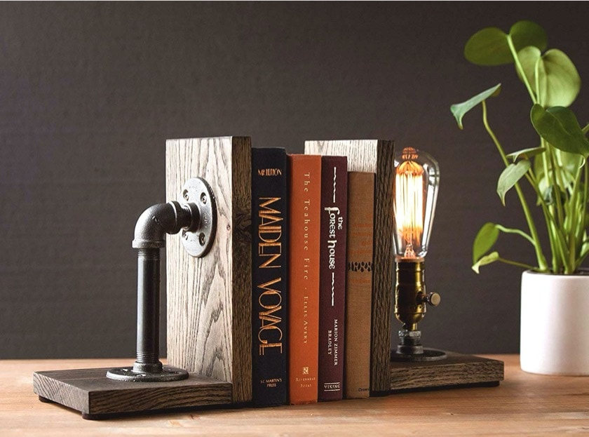 Industrial steampunk bookends with lamp - new gifts for book lovers