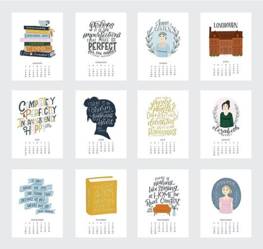 Jane Austen 2020 calendar - inside pages
