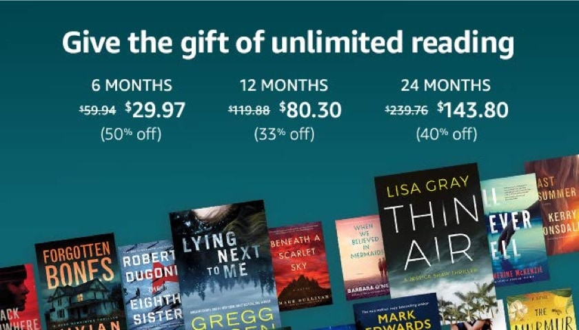 Kindle Unlimited Gift plans - Christmas 2019