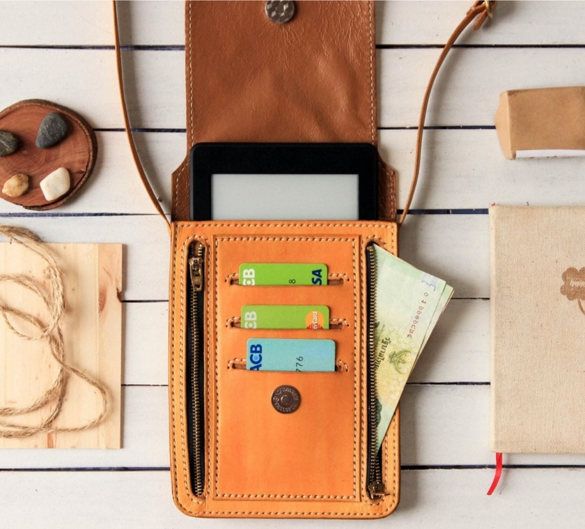 Leather Kindle sleeve and cross body purse