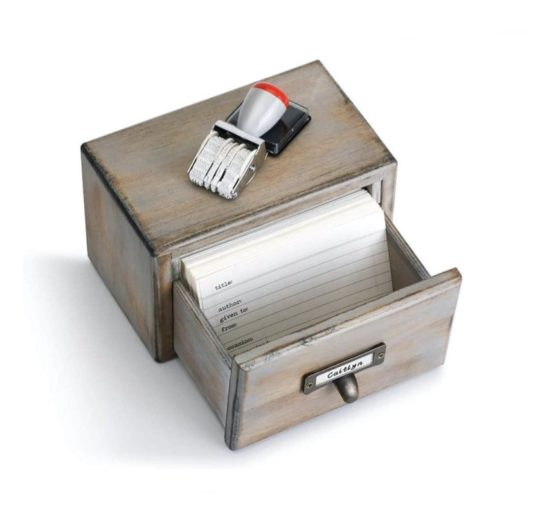 Library card catalog box with notecards - new gifts