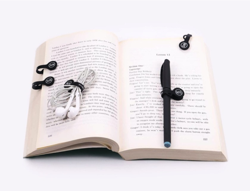 Magnetic cable organizer and bookmark