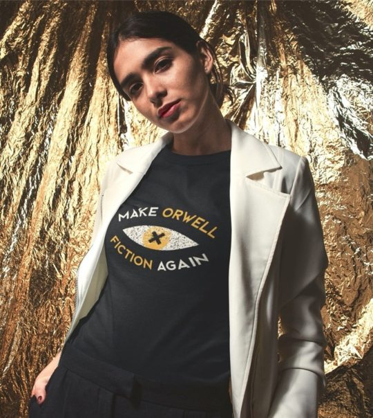 """Make Orwell Fiction Again"" t-shirt - book-inspired gifts 2020"