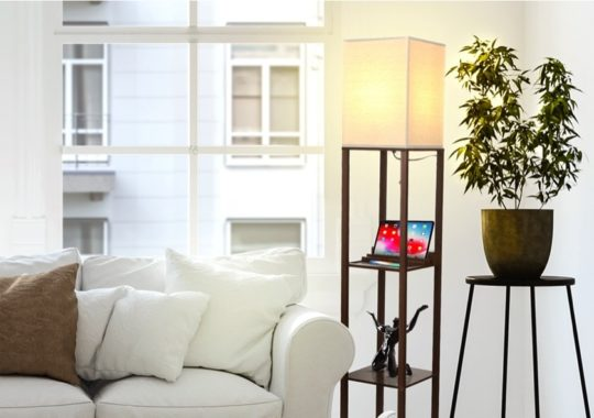 Bedside lamp with charger and bookshelf - gifts for book lovers 2020