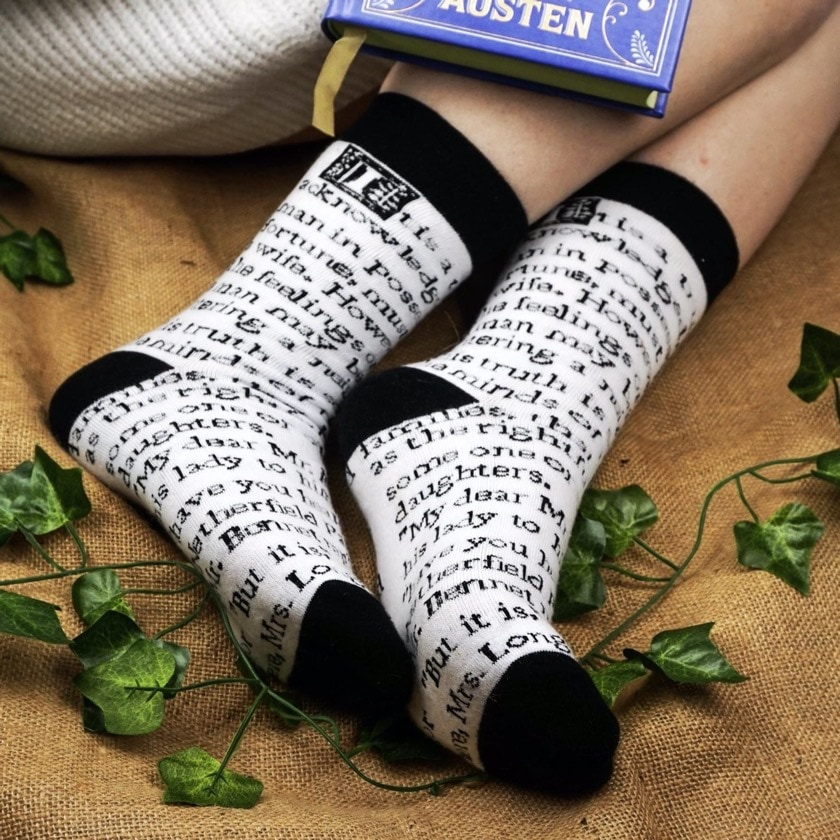 New gifts for book lovers - Pride and Prejudice literary socks