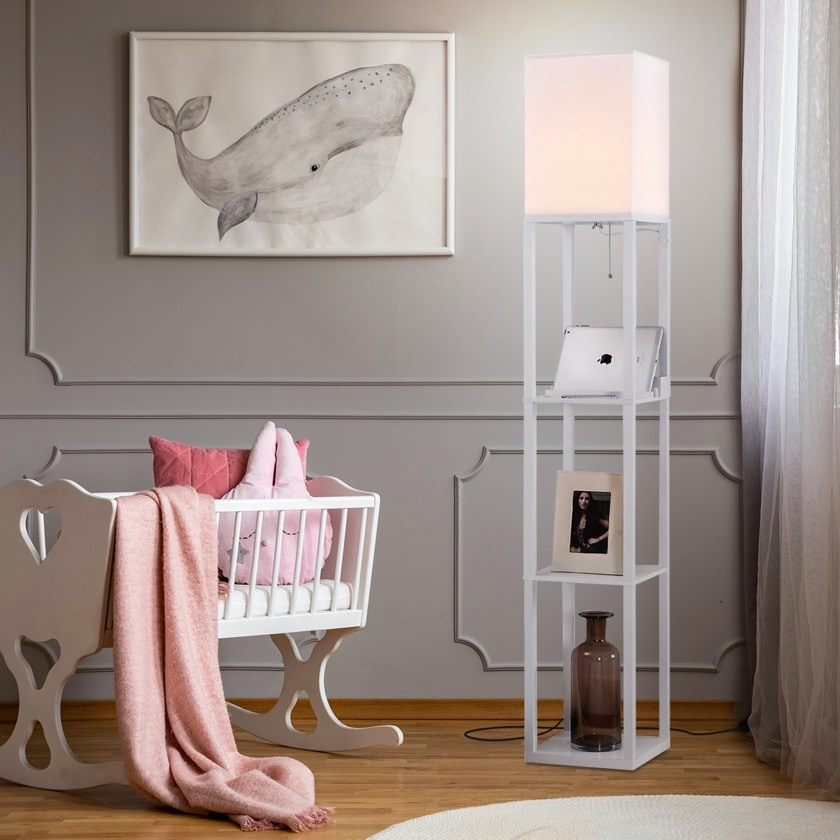 New gifts for bookish home - bookshelf with lamp and charger