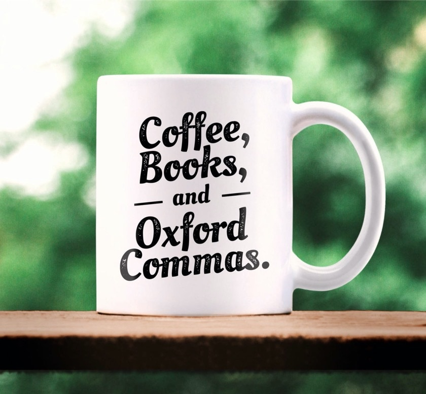 Oxford Comma ceramic mug - new gifts for book lovers