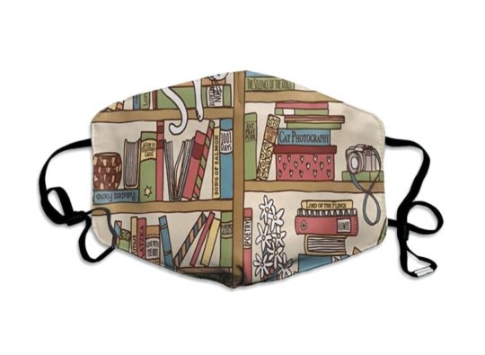 Pollution mask with book-themed illustration - gifts to give in 2020