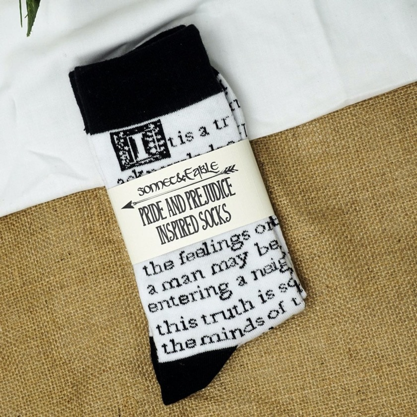 Pride and Prejudice inspired socks - best new gifts for bookworms