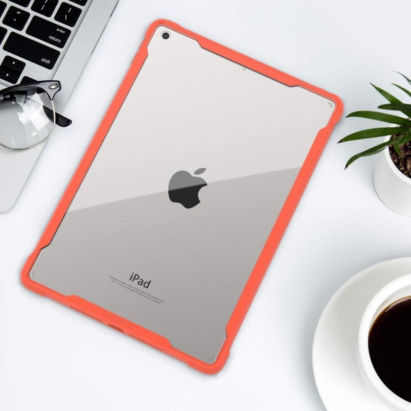 Soft-edge bumper iPad 10.2 case cover with transparent back