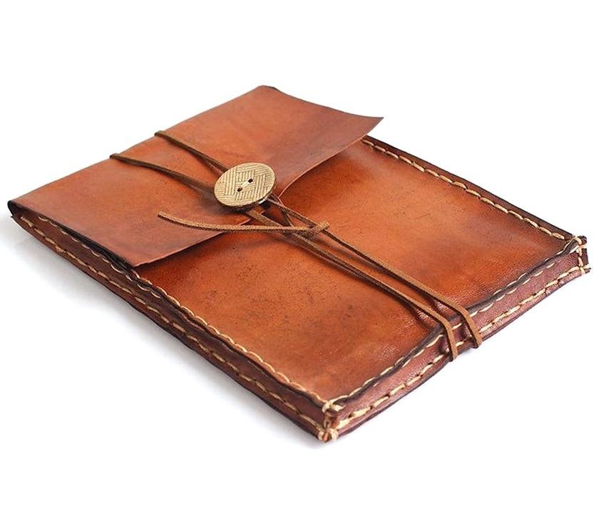 Vintage leather retro-style Kindle sleeve - Etsy