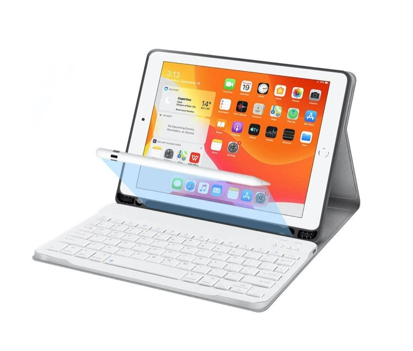 Wireless keyboard case for iPad 10.2 with Apple Pencil holder