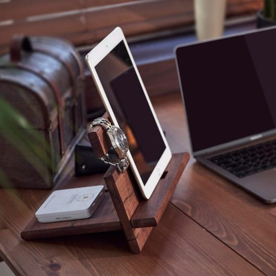 Wooden charging station and nightstand organizer - gifts for book lovers