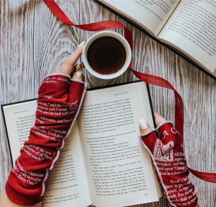 Writing gloves inspired by A Christmas Carol - gifts for booklovers