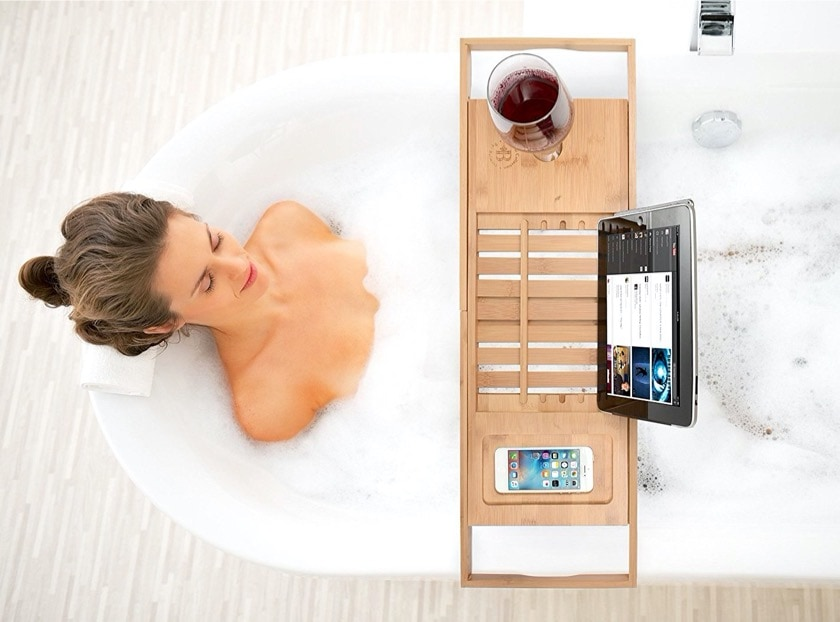 Bathroom iPad reading caddy