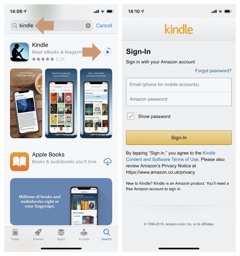 Download Kindle app to iPad and iPhone