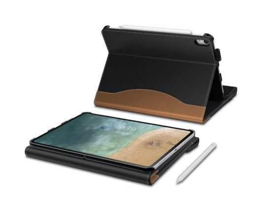 Folio iPad case with raised palm rest helps write easier
