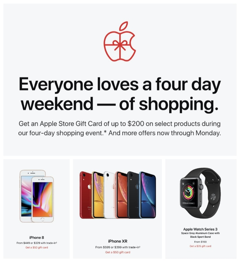 Get a gift card if you buy Apple products