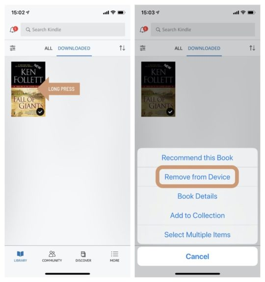How to remove a book from Kindle app for iPad and iPhone