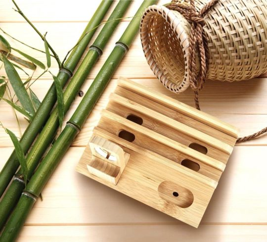 Natural bamboo docking station and organizer - best iPad accessories 2021, fits iPad Air 4