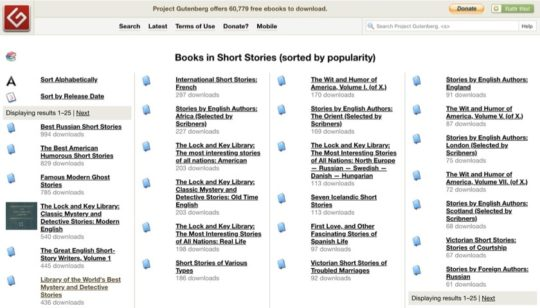 Project Gutenberg - read classic short stories online free
