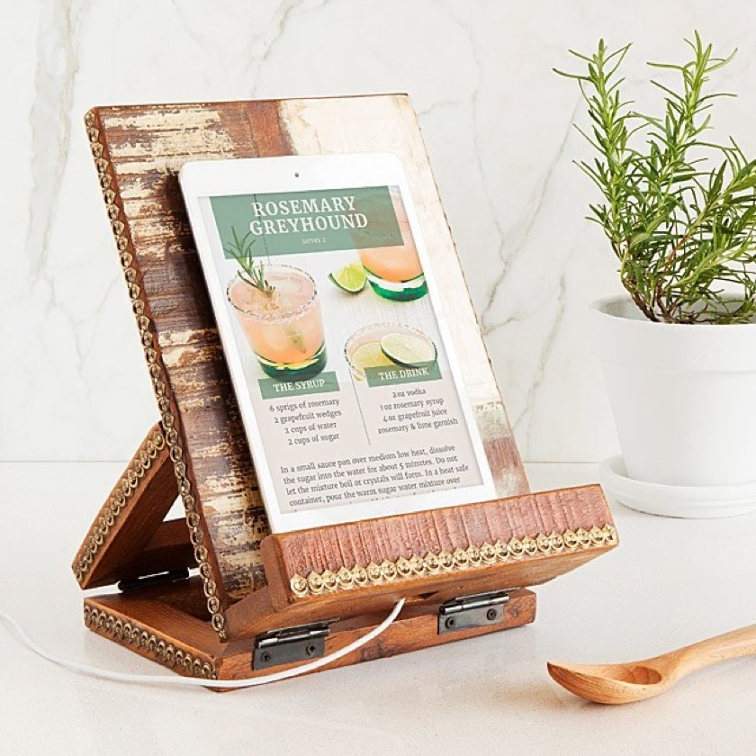 Rustic Old Library iPad stand for reading cookbooks