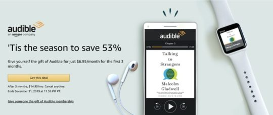 Save on Audible membership - December 2019 deals