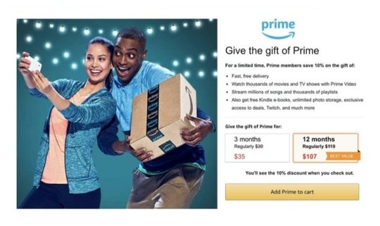 Save on Prime gift membership - Christmas 2019