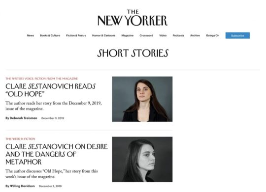 The New Yorker - best sites to read short stories online