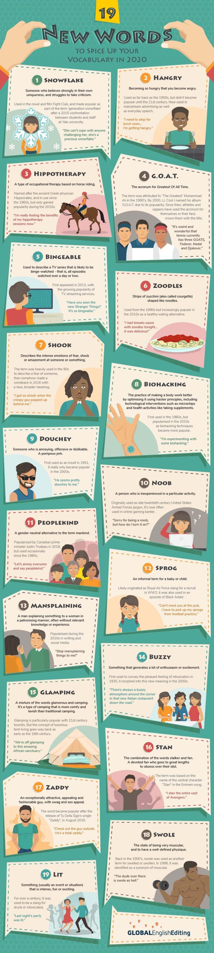 New and trendy words to use more often this year - full size infographic
