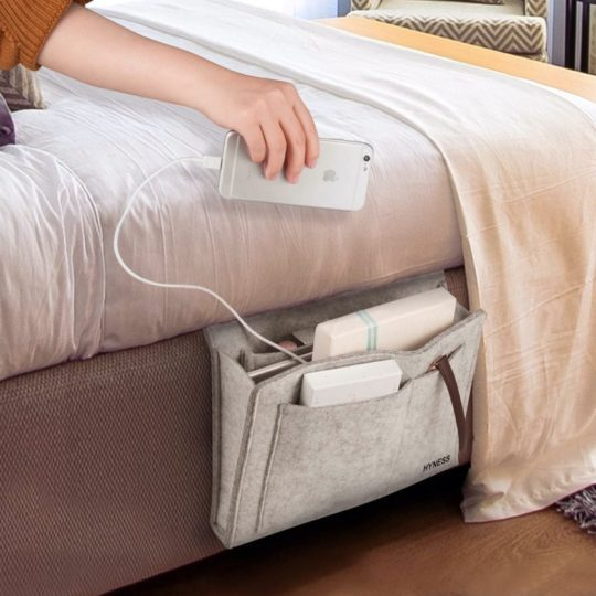 iPad-ready bedside organizer made of natural felt - best iPad accessories 2021