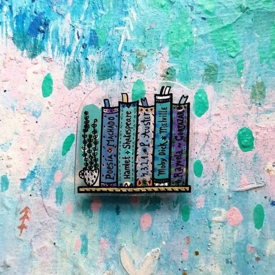Bookshelf pin with custom book titles - best gifts for booklovers in love