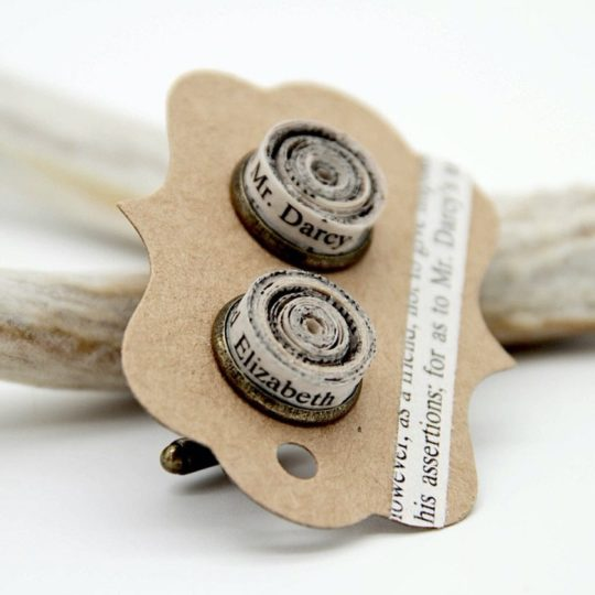 Cuff links made of book pages - best gifts for him
