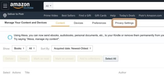 How to change privacy settings on Kindle e-reader and Fire tablet
