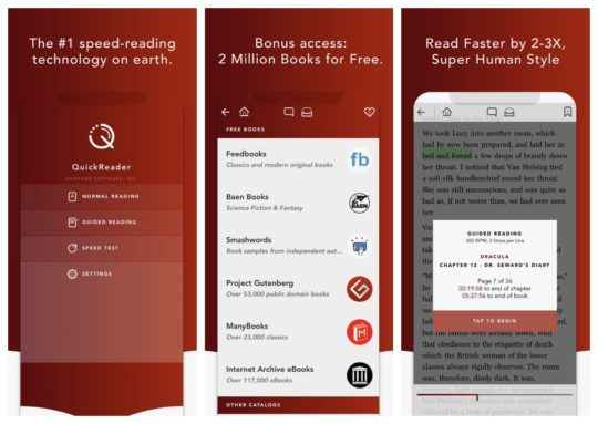 QuickReader speed-reading app for iPad and iPhone