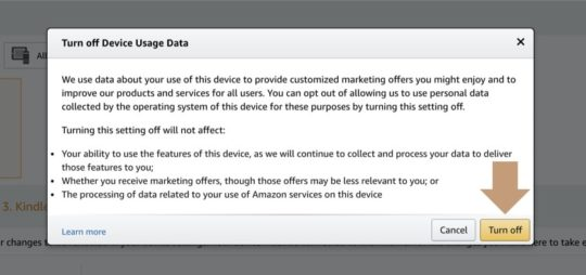 Turn off device usage data on Kindle or Fire through Amazon web dashboard