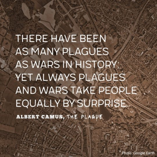 There have been as many plagues as wars in history; yet always plagues and wars take people equally by surprise. - Albert Camus