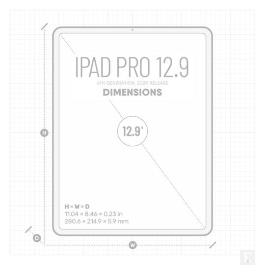 Apple iPad Pro 12.9-inch, 2020 release, 4th generation - dimensions