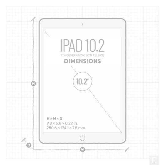 iPad 10.2 2019 dimensions - 9.8 × 6.8 × 0.29 in