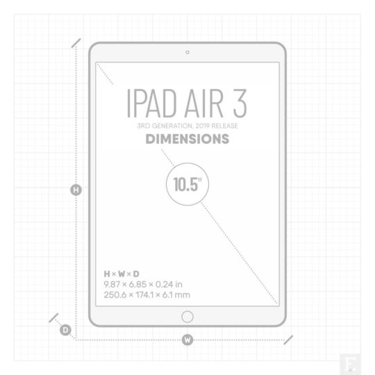 iPad Air 3 2019 dimensions - 9.87 × 6.85 × 0.24 in