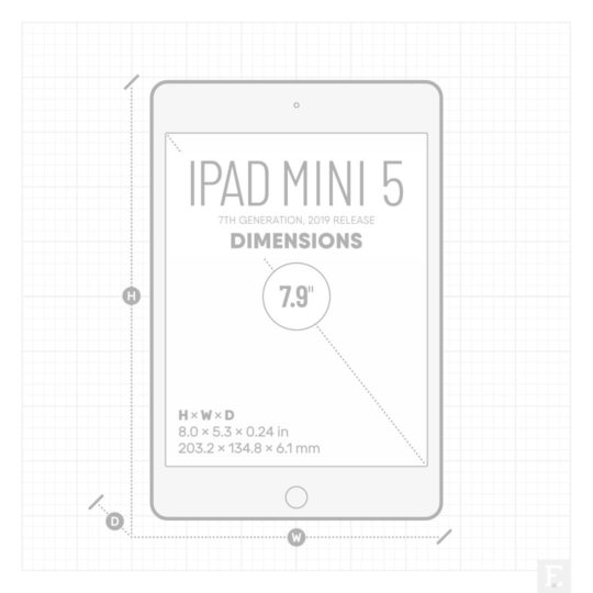 iPad mini 5 2019 dimensions - 8.0 × 5.3 × 0.24 in