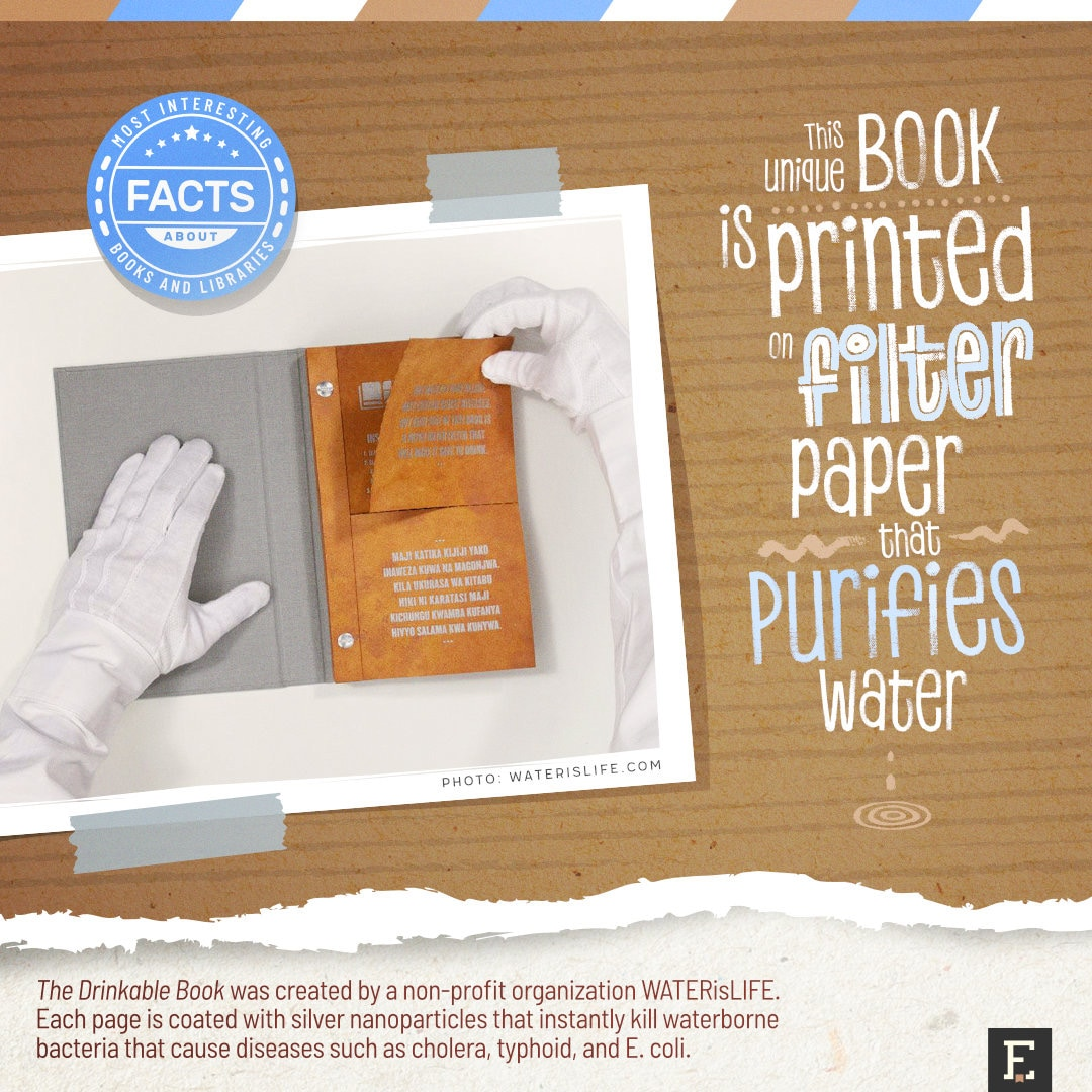 Book that purifies water - best facts about books
