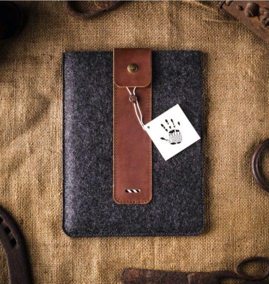 Crazy Horse personalized iPad Pro felt leather sleeve