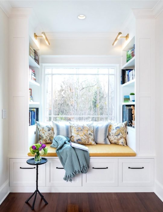Family room reading nook by Raina Henderson Interior Design