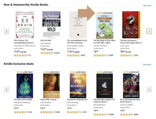Find Kindle Unlimited books by strip on a book cover
