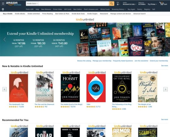 Kindle Unlimited - front page for registered users