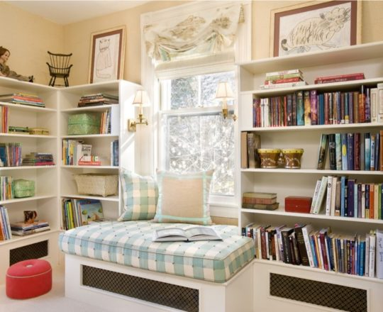 Reading nook in kids room by Karen Joy Interiors