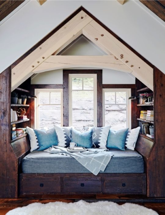 Rustic bedroom reading nook by Design Bar