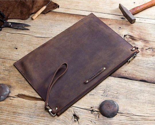 Sleek iPad Pro genuine leather zipper sleeve