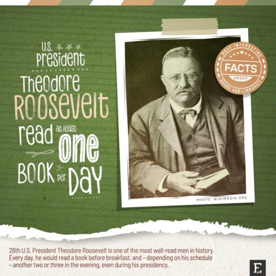 Theodore Rosevelt read one book a day - top facts about books